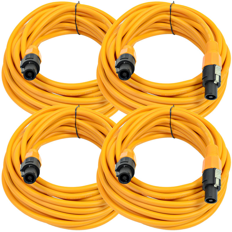 Seismic Audio Four Pack of 12 Gauge 25 Foot Orange Speakon to Speakon Professional Speaker Cables - 12AWG 2 Conductor Speaker Cables at Sears.com