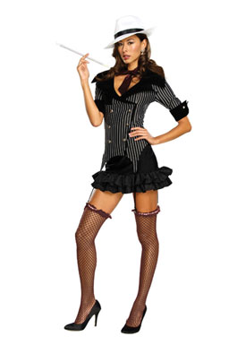 Gangster Doll Adult Womens Mafia Halloween Costume.