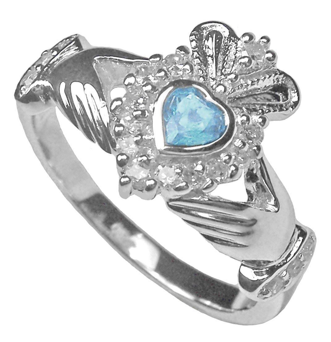 sterling silver claddagh birthstone ring january february