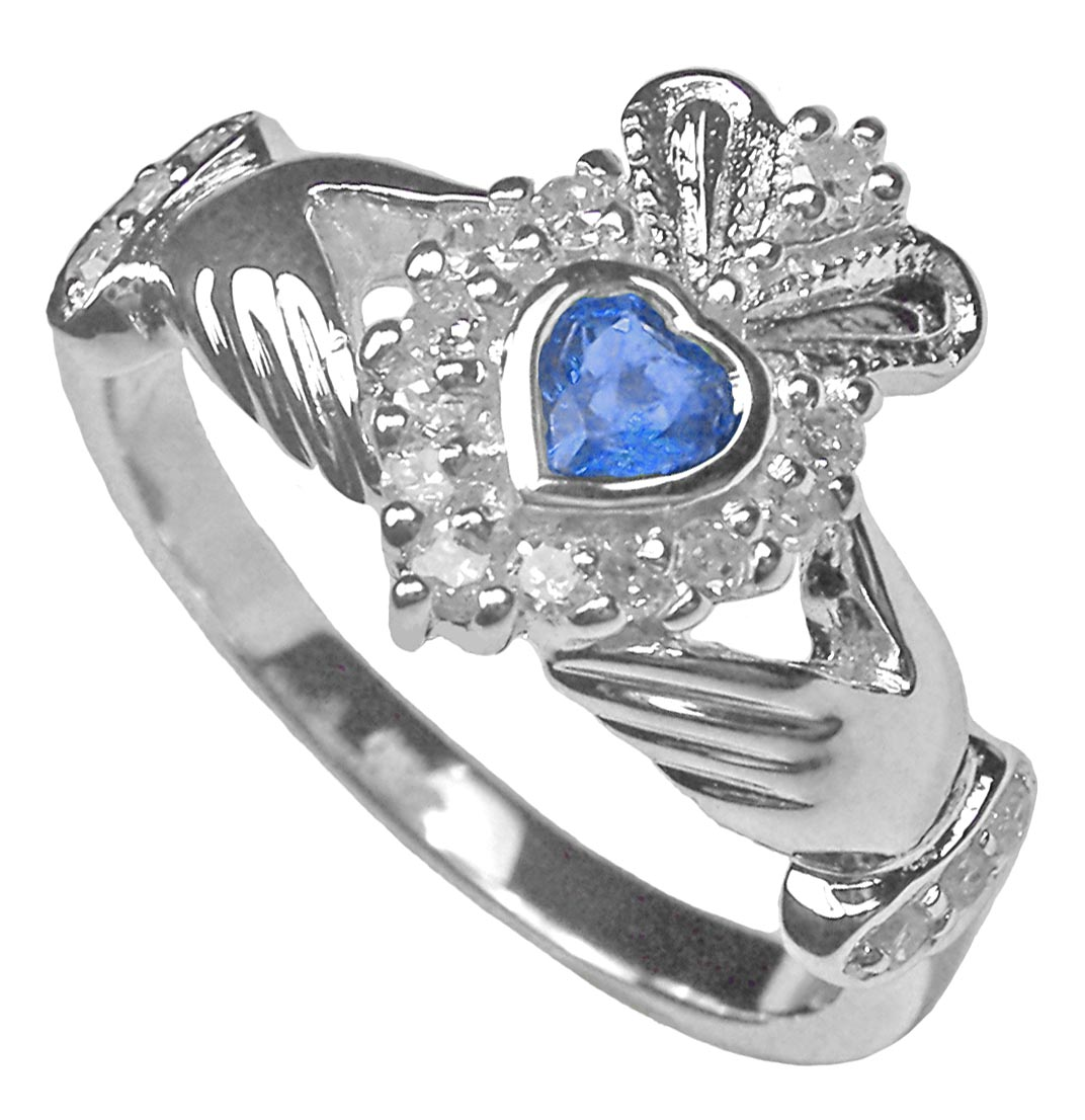 silver irish celtic claddagh sapphire diamond ring ebay. Black Bedroom Furniture Sets. Home Design Ideas
