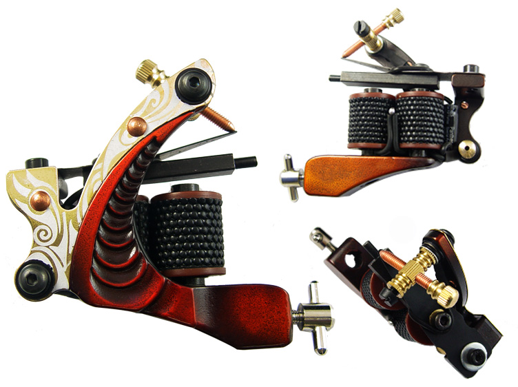 "Pro Tattoo Machine Hand Assembled Shader Gun 10 Wrap Coils ""Shrimp Trigger"""