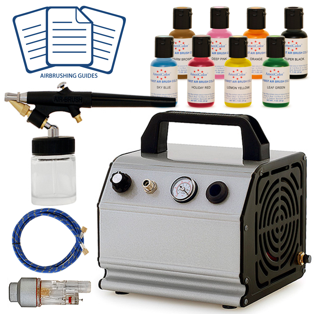 Airbrush Food Cake Decorating Design Kit 8 Color Supplies Set Air Compressor eBay