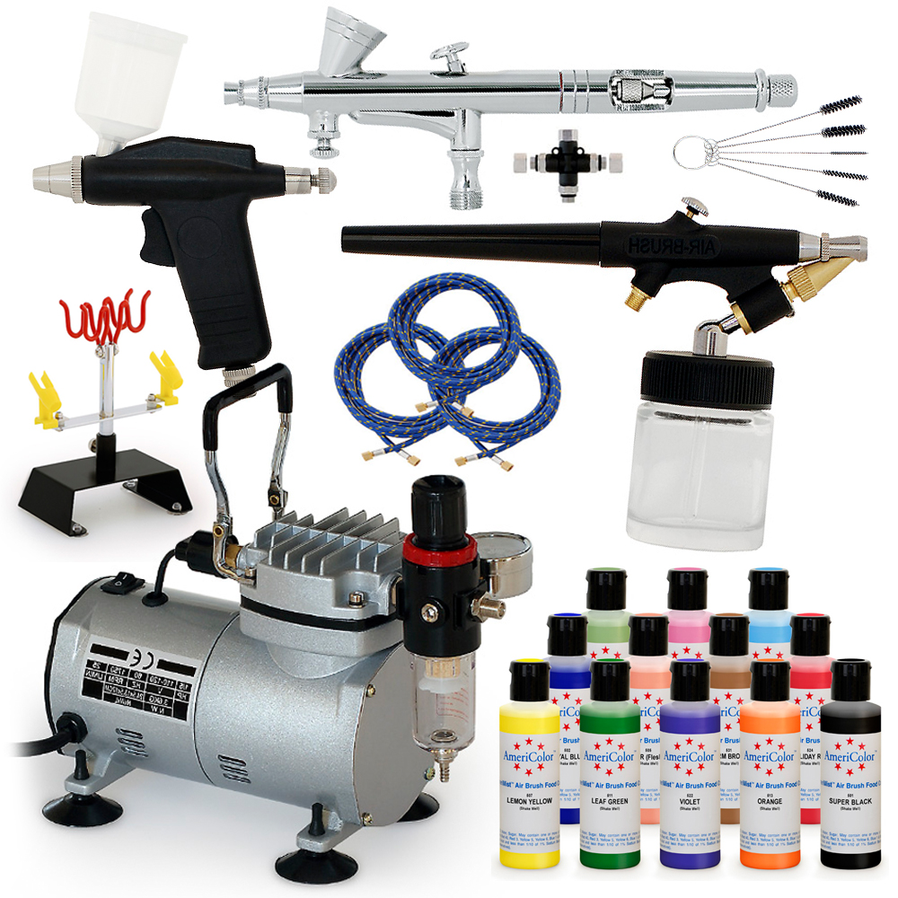 Complete cake decorating airbrush kit 12color set air for Airbrush cake decoration