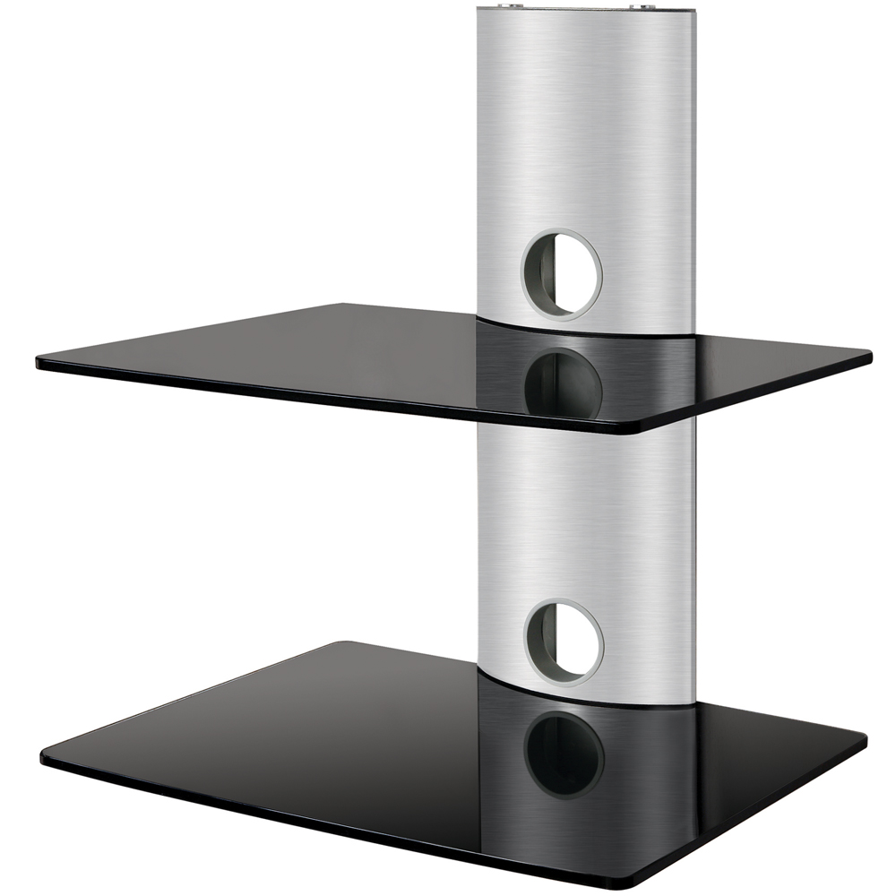 2 tier wall tv component av glass stand shelf mount dvd. Black Bedroom Furniture Sets. Home Design Ideas