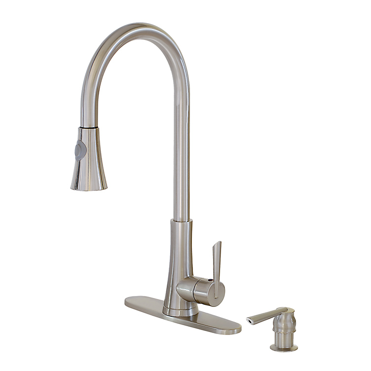 Freuer Brushed Nickel Tall Kitchen Sink Faucet Pullout