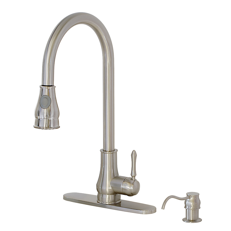 ... , Brushed Nickel, Solid Brass, Single handle with spray & soap pump