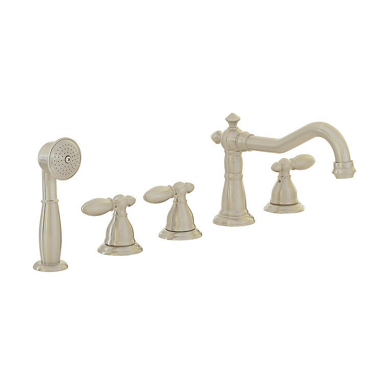 New Freuer Brushed Nickel Classical Roman BathTub Faucet Lav Hand Held Spraye