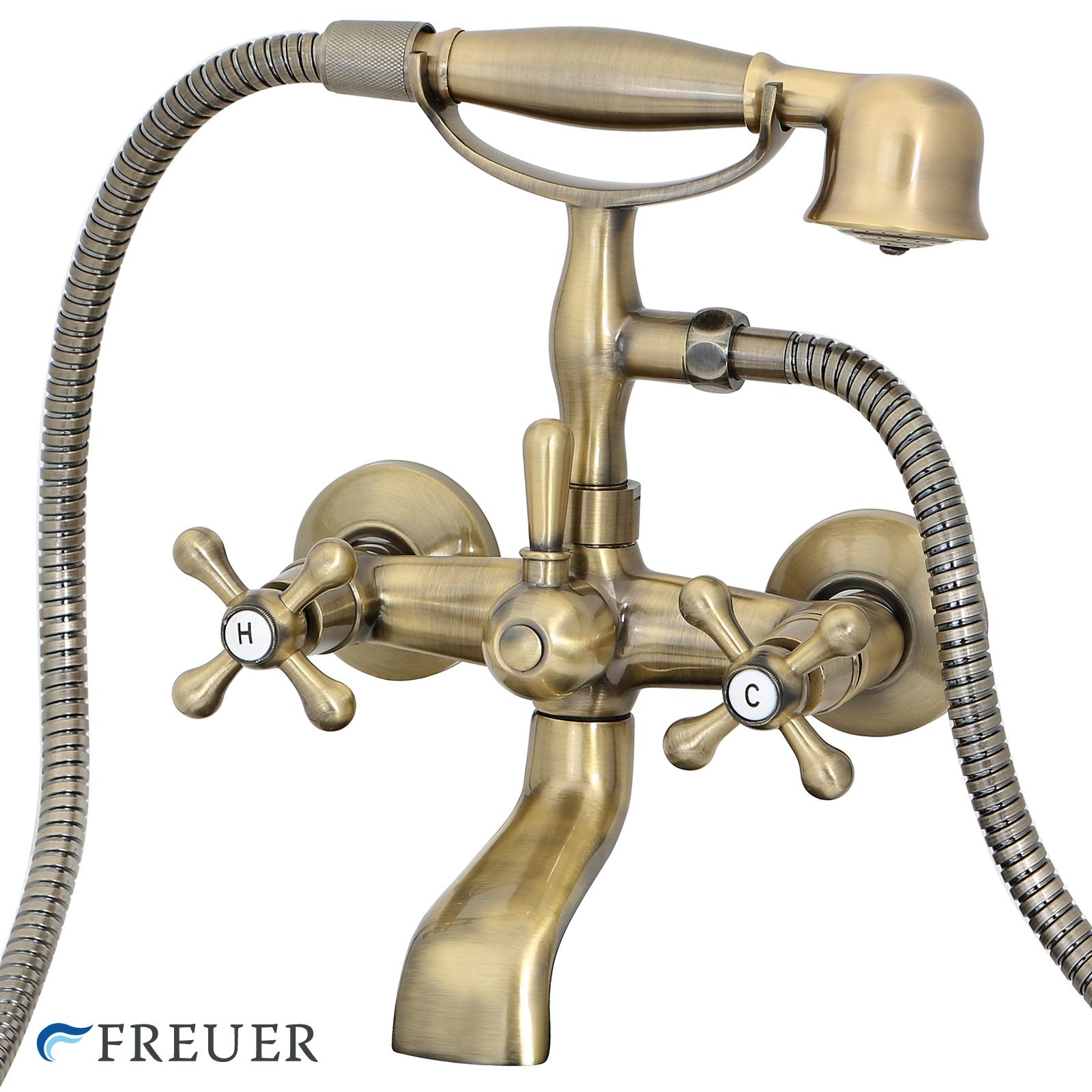 New Freuer Antique Brass Clawfoot Tub Bathtub Wall Mount