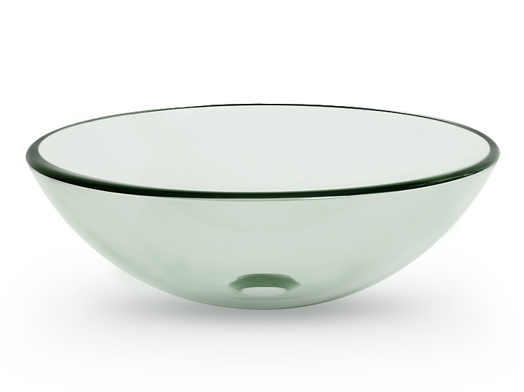 Clear Round Tempered Glass Vessel Sink Bowl For Bathroom