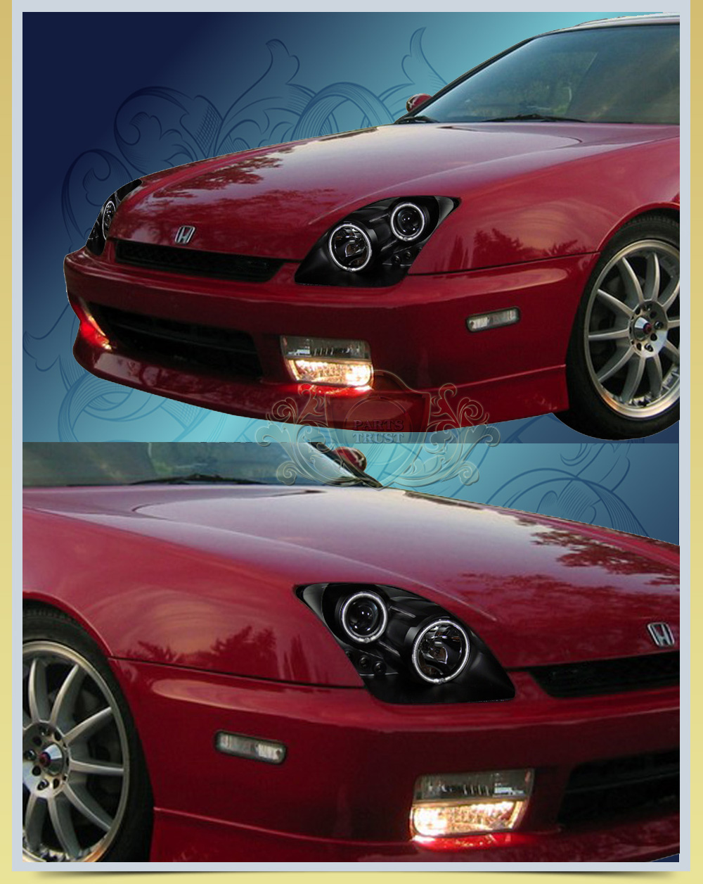 97 01 honda prelude dual twin ccfl halo projector black headlights lh. Black Bedroom Furniture Sets. Home Design Ideas