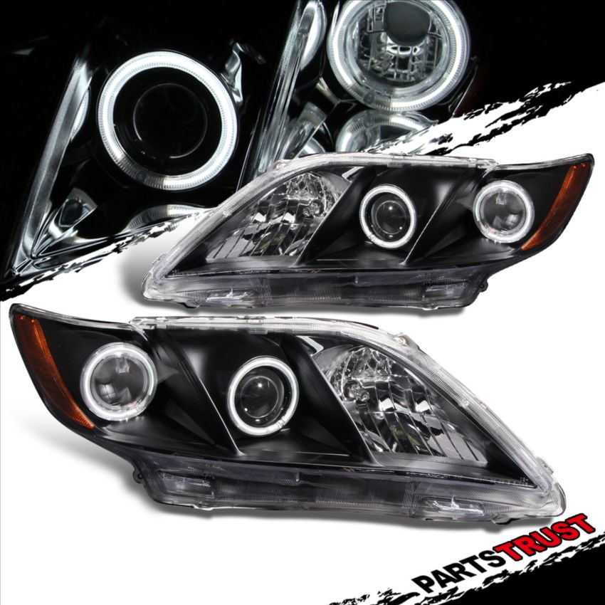 ccfl halo fit 2007 2008 2009 toyota camry projector black headlights lamps pair ebay. Black Bedroom Furniture Sets. Home Design Ideas