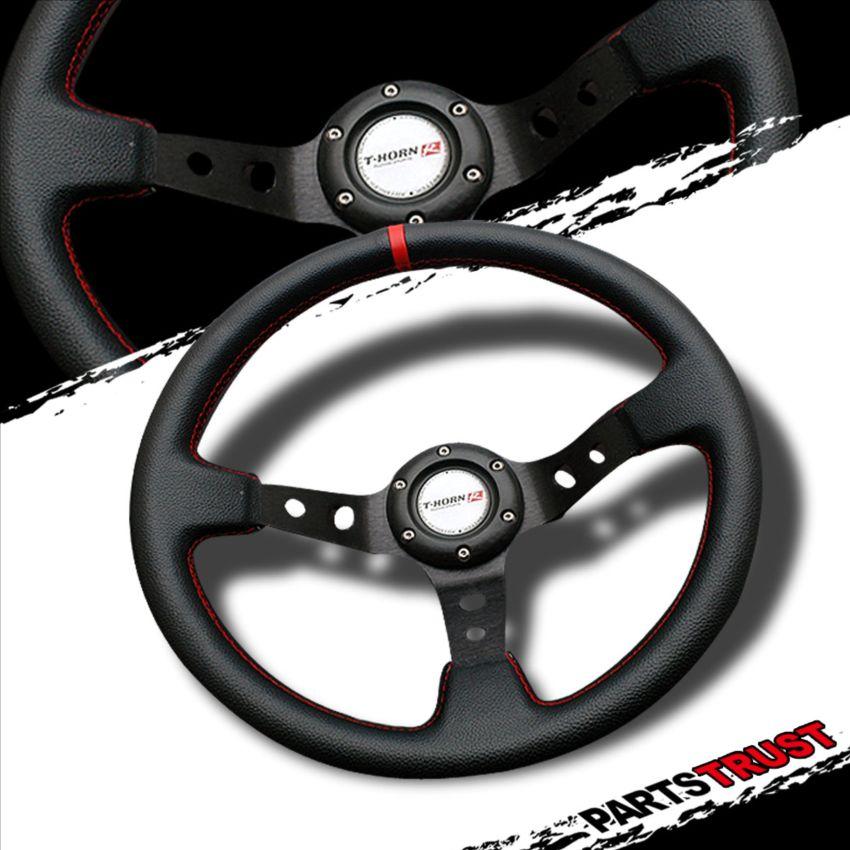 350mm Deep Dish Style PVC Plastic Racing Steering Wheel JDM Black Red Stitch