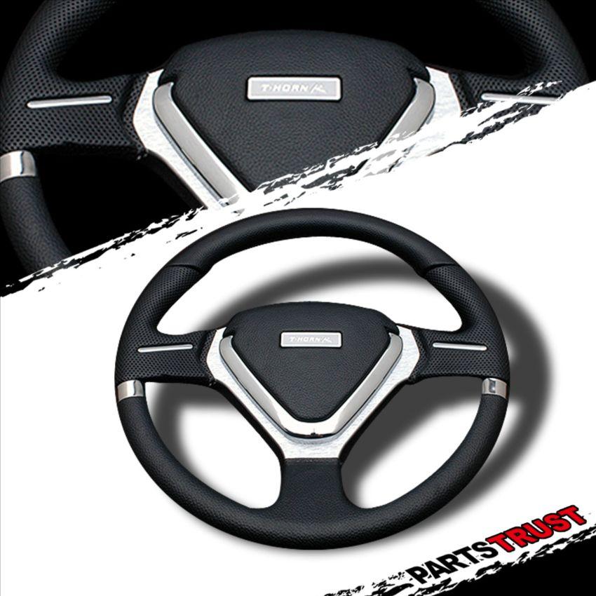 JDM 6 Bolt 320mm PVC EVO Style Chrome Clear Spoke Racing Steering Wheel New