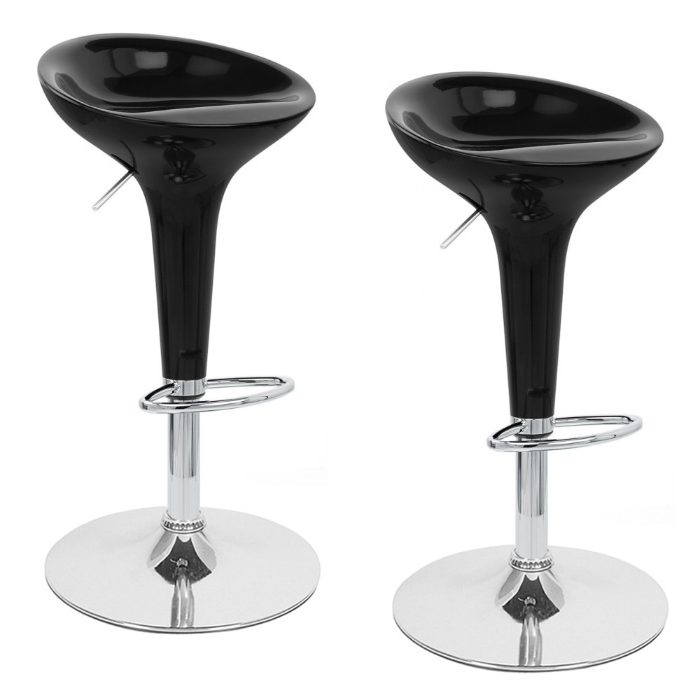 adjustable bombo style bar stool scoop barstool counter chair black set of 2 ebay. Black Bedroom Furniture Sets. Home Design Ideas