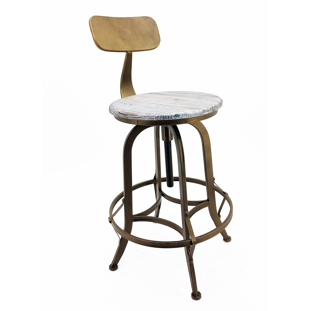 New Rustic Retro Arthur Barstool Steel Rotating