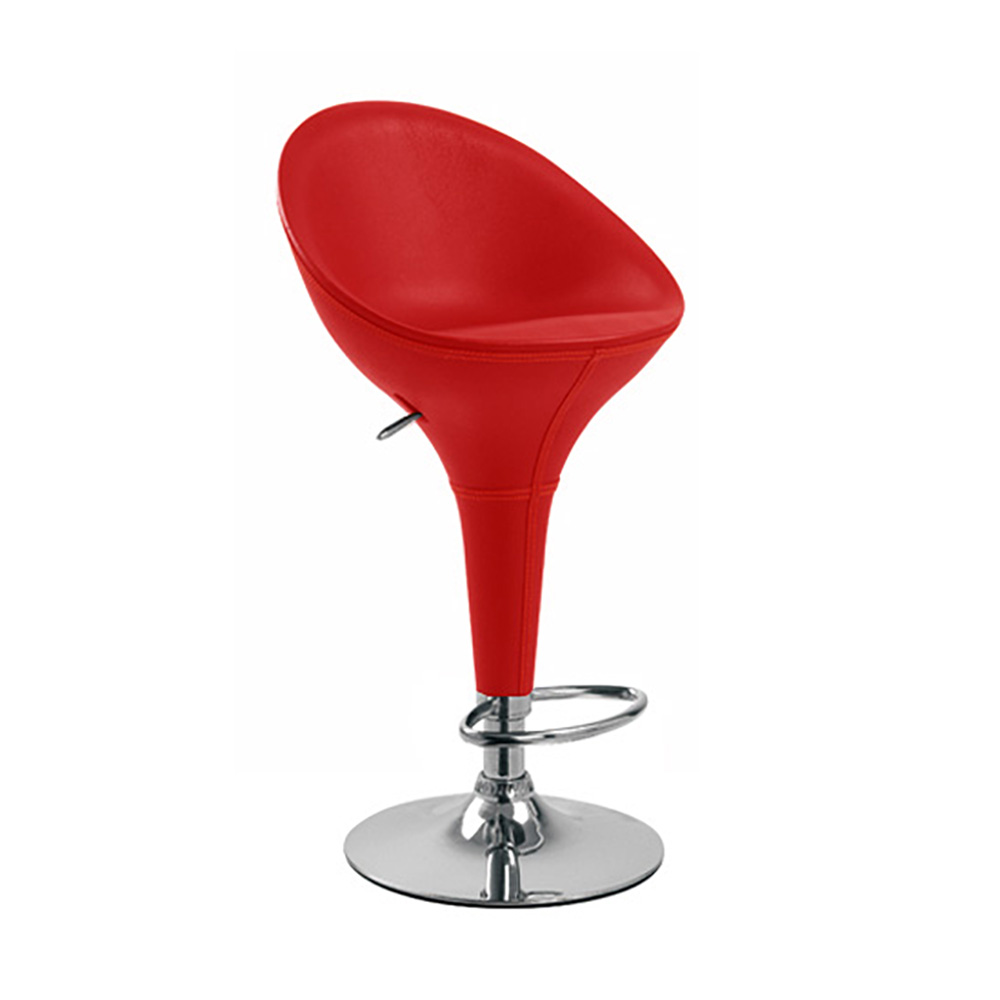 BOMBO LEATHER STYLE HIGH BACK BARSTOOL BAR STOOL CHAIR RED SET OF 2
