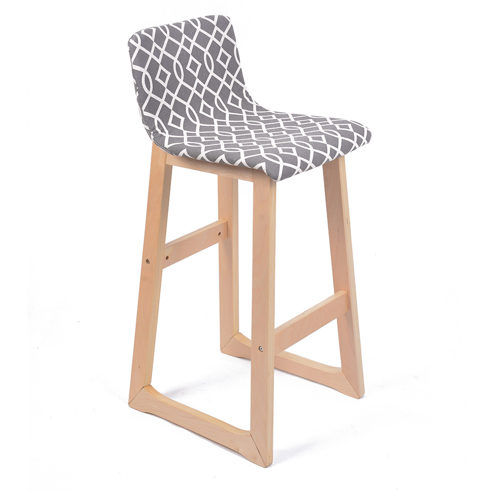 New modern wood fabric chevron barstool