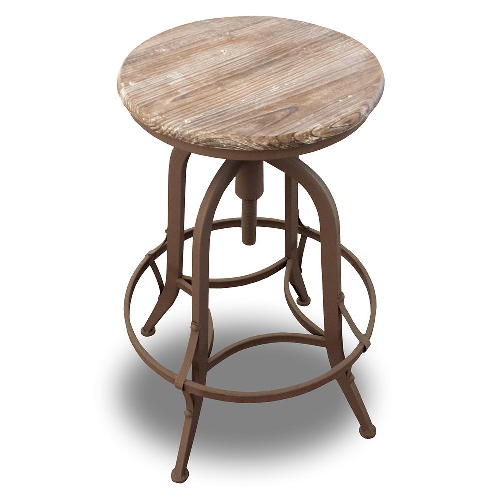 Wooden Revolving Stool Light Brown Swivel Bar Pub Chair: NEW! RUSTIC RETRO CHESTER BARSTOOL