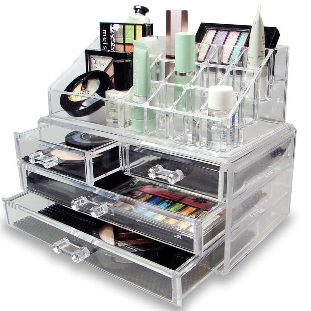 NEW! DELUXE MAKEUP/JEWELRY ORGANIZER - ACRYLIC TIERED 4 DRAWER ...