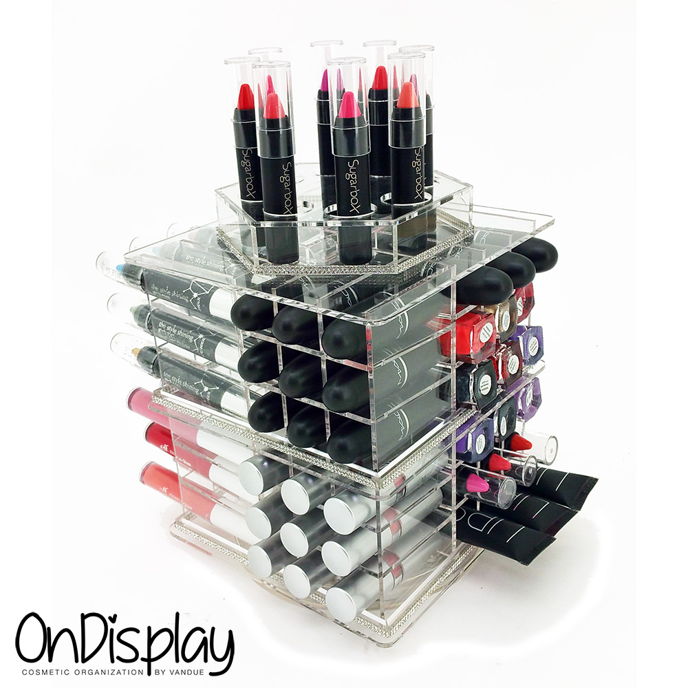 new deluxe makeup organizer siena acrylic rotating. Black Bedroom Furniture Sets. Home Design Ideas