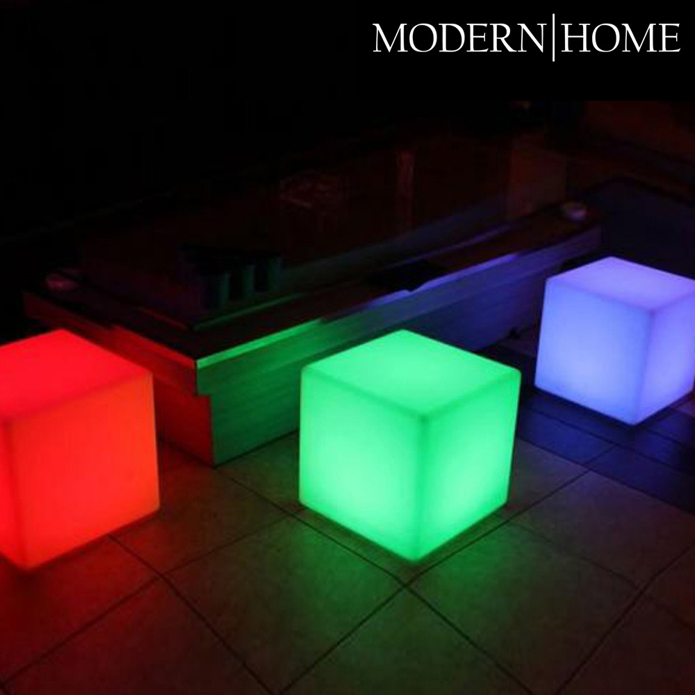 modern home led glowing cube box stool w infrared remote control