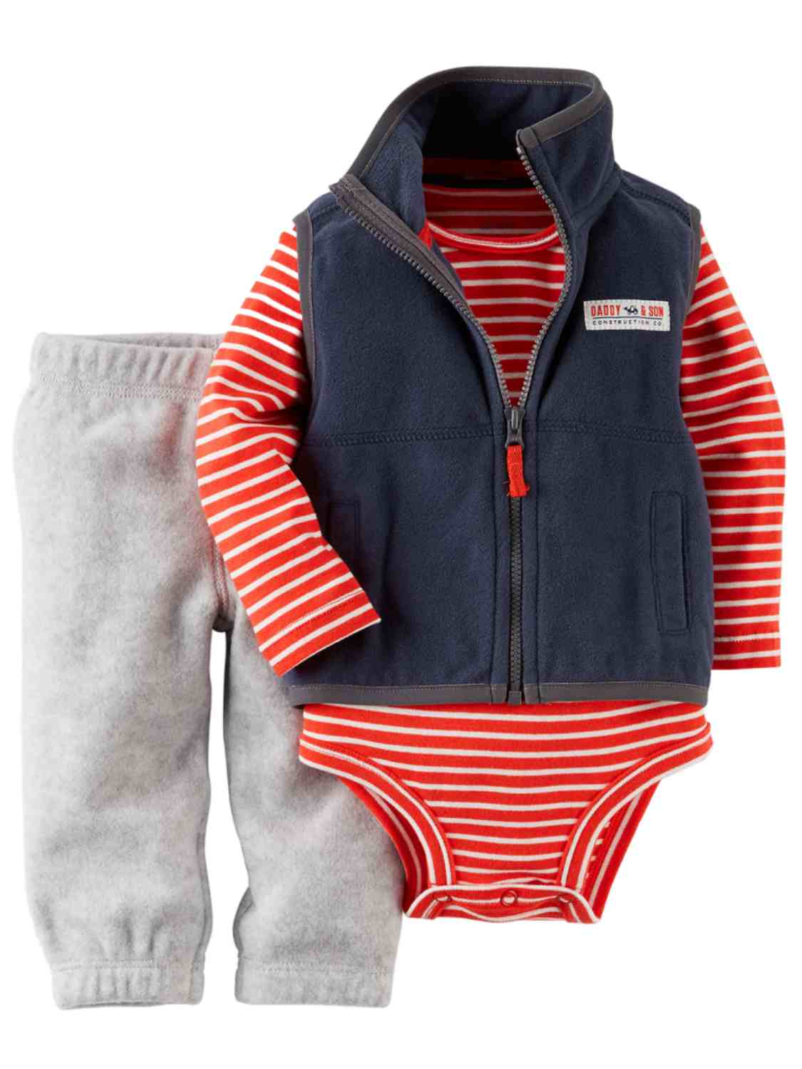 Carter's Carters Infant Boys 3 PC Daddy & Son Construction Pants Creeper & Vest 6 Months