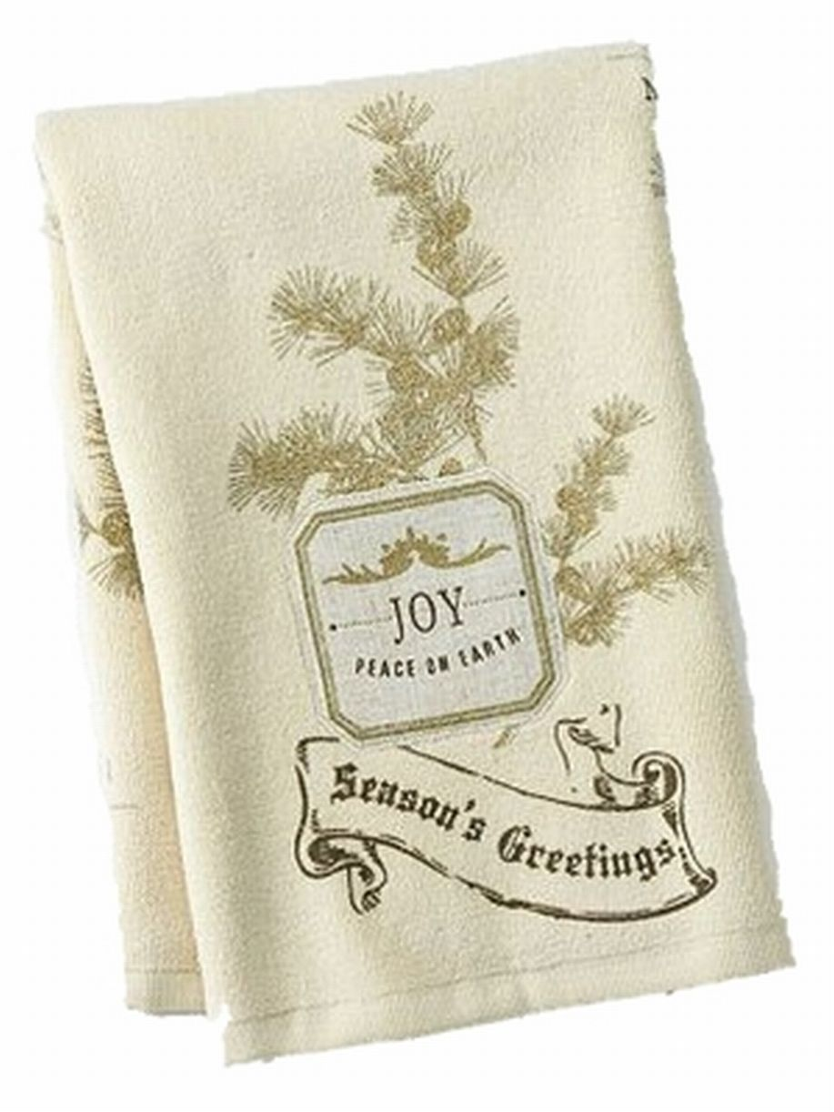 St Nicholas Square Holiday Kitchen Towel Set Beige Joy