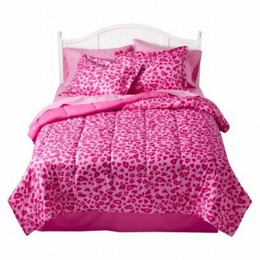 Xhilaration full bed in bag pink cheetah comforter sheet sham reversible leopard ebay - Pink cheetah bed set ...