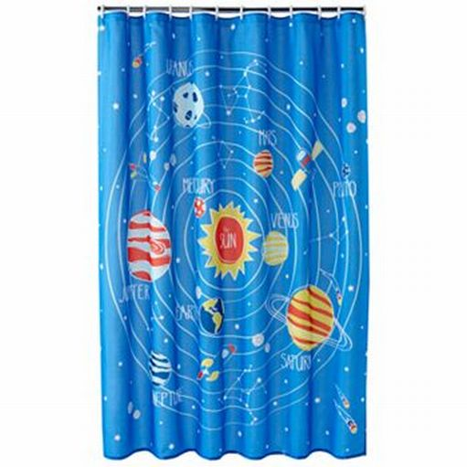 Jumping beans blue blast off space planets fabric shower for Space pants fabric