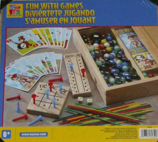 Pavilion Fun With Games Set In Wooden Game Box Marbles Pick Up Sticks Cards at Sears.com