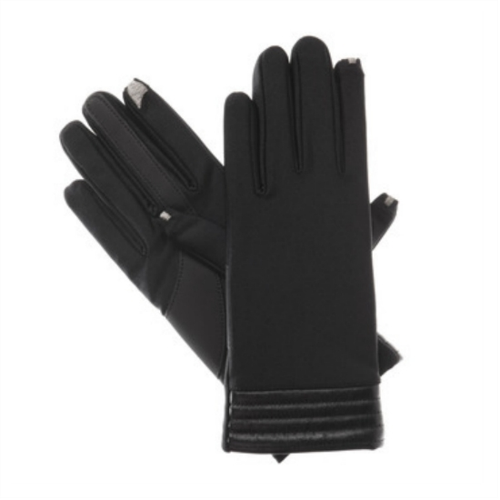 Isotoner Smart Touch Womens Black Spandex Stretch Tech Gloves Smartouch Text at Sears.com