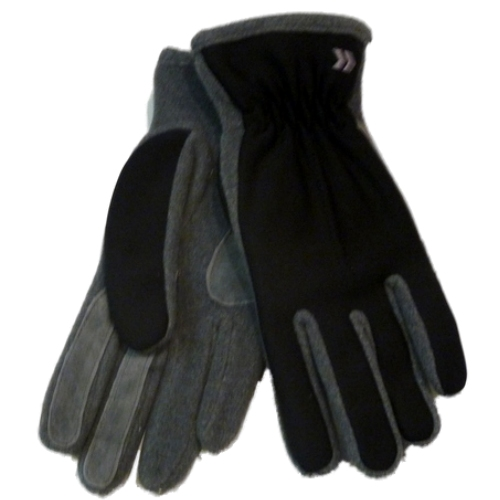 Isotoner Womens Black & Gray Lycra Stretch Gloves with Fleece & Suede Accents at Sears.com