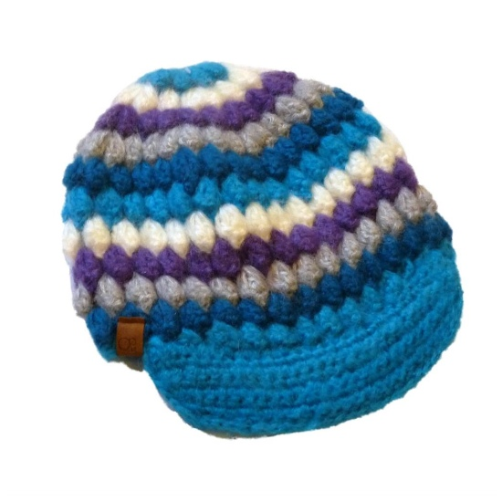 Ocean Pacific Womens Colorful Knit Newsboy Hat Ivory Blue Purple Stripes at Sears.com