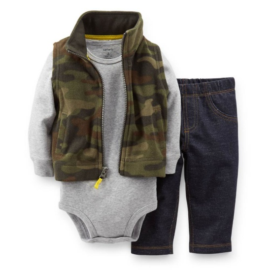 Carter's Carters Infant Boys 3 Piece Camouflage Outfit Jean Pants Creeper & Jacket Vest