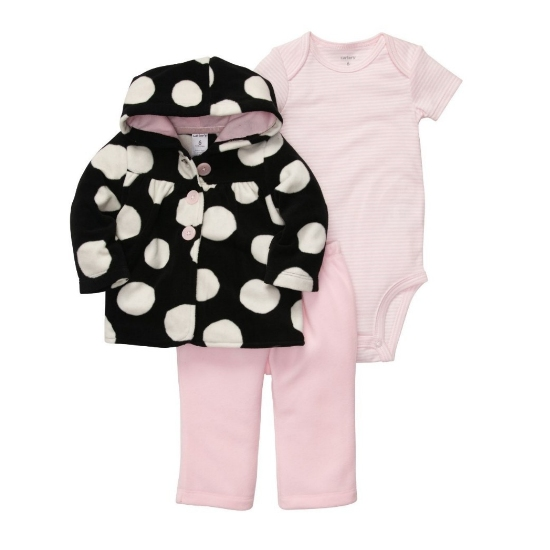 Carter's Carters Infant Girls 3 Piece Set Plush Pink Pants Creeper & Polka Dot Hoodie at Sears.com