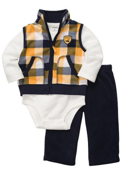 Carter's Carters Infant Boys 3 Piece Plaid Outfit Pants Thermal Creeper & Jacket Vest