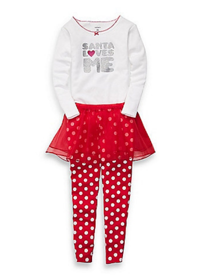 Carter's Carters Infant Girls Red Santa Love Me Outfit Pants Tutu Skirt & Glitter Shirt at Sears.com