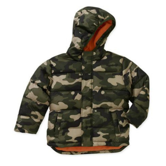 Healthtex Healthtex Infant Boys Green Camouflage Coat Winter Puffer Jacket