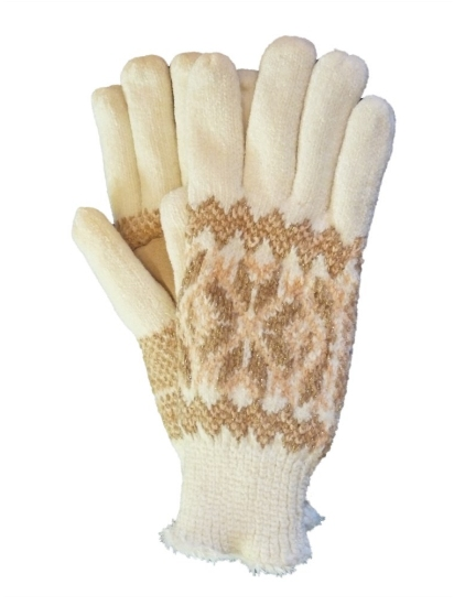Isotoner Womens Ivory & Tan Sparkle Snowflake Knit Gloves Microluxe Lining at Sears.com
