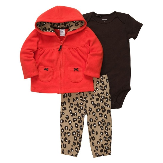 Carter's Carters Infant Girls 3 Piece Set Brown Leopard Print Pants Creeper & Red Hoodie