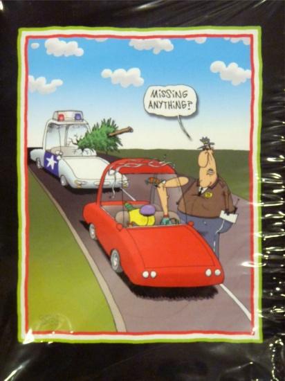 Paper Magic Funny Policeman Christmas Cards Xmas Tree Hits Cop Car at Sears.com