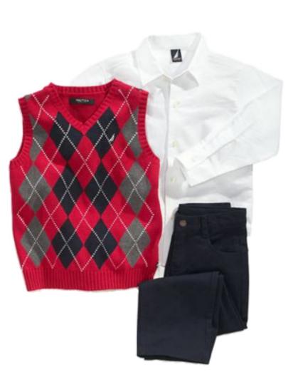 Nautica Infant Boys 3 Piece Dress Up Outfit Navy Pants Shirt & Red Argyle Vest
