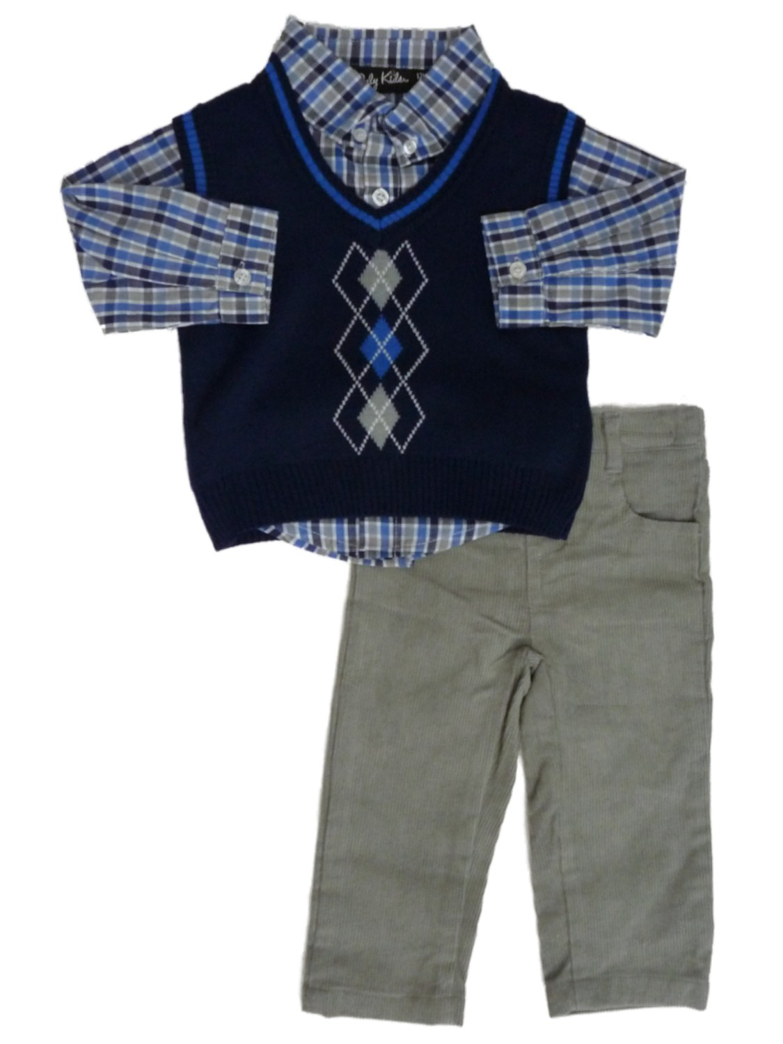 Only Kids Only Kids Infant Boys 3 Piece Dress Up Outfit Pants Shirt & Blue Sweater Vest