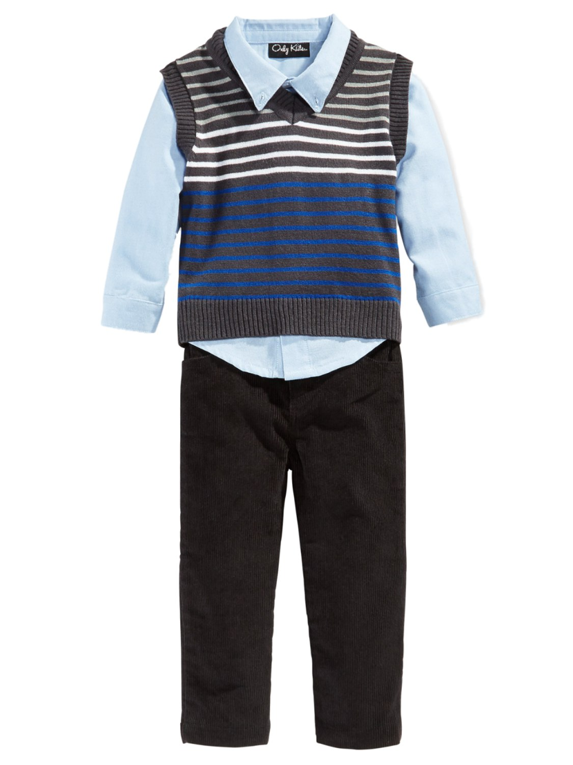 Only Kids Infant Boys 3 Piece Dress Up Outfit Pants Shirt & Striped Sweater Vest