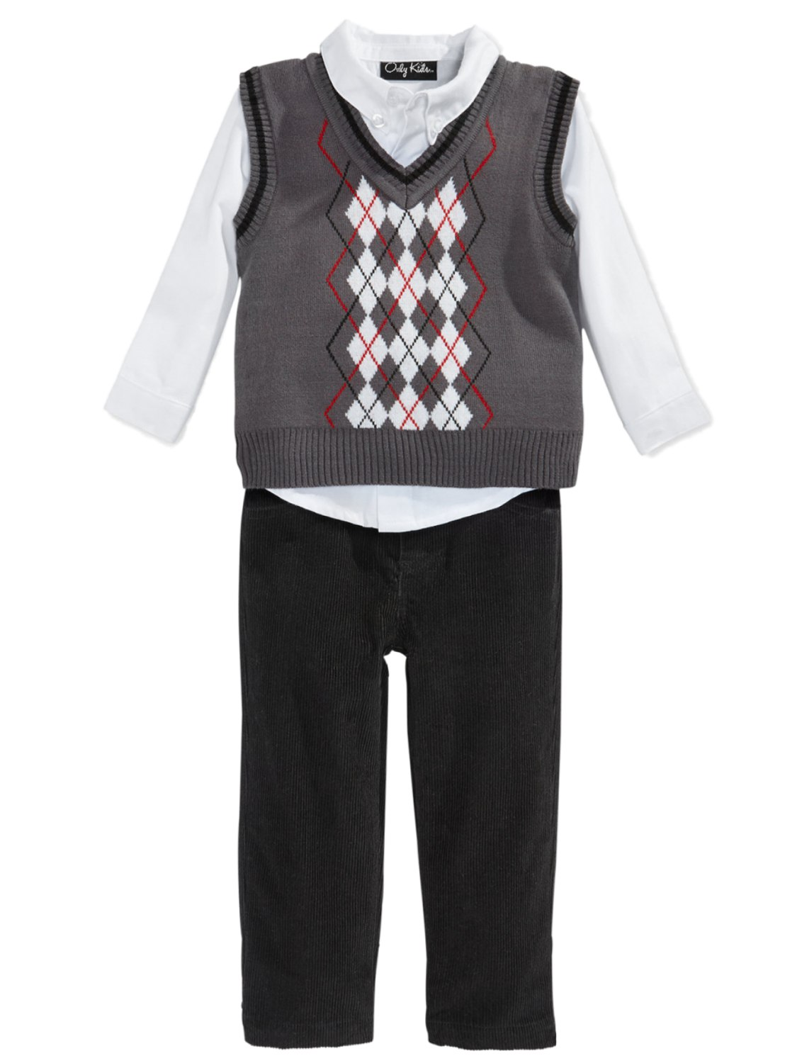 Only Kids Only Kids Infant Boys 3 Piece Dress Up Outfit Pants Shirt & Gray Sweater Vest