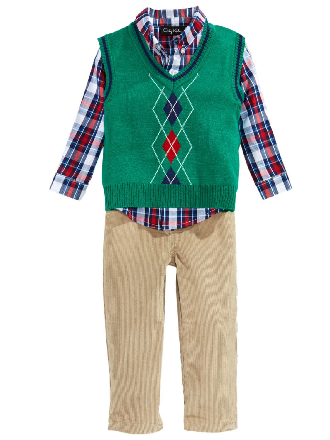 Only Kids Only Kids Infant Boys 3 Piece Dress Up Outfit Pants Shirt & Green Sweater Vest