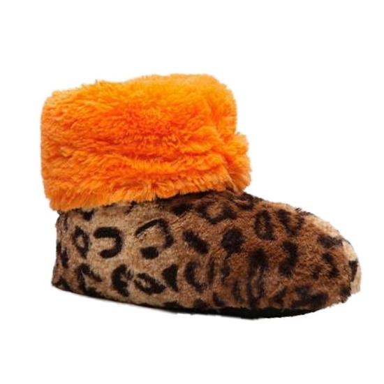 Dearfoams Womens Brown & Orange Leopard Print Faux Fur Bootie Slippers Boots at Sears.com