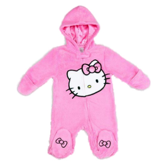 Hello Kitty Infant Girls Plush Pink Kitty Cat Snowsuit Baby Pram Plush Sleeper at Sears.com