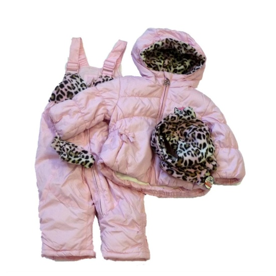 Zero Xposur Infant Girls Pink Leopard Outerwear Set Snow Bibs & Coat Snowsuit at Sears.com