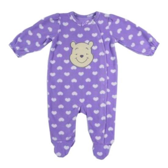 Disney Disney Winnie The Pooh Infant Girls Purple Heart Fleece Sleeper Pajamas
